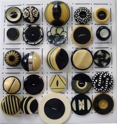 CELLULOID BUTTONS / ART DECO / BLACK & WHITE