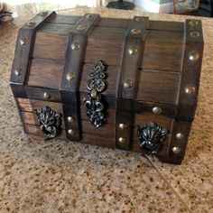 Chunky Wood Vintage  Jewelry  Pirate Chest Jewelry Box with Lion Heads by happykristen on Etsy