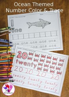 Ocean Number Color & Trace - three fun themes with genereal ocean animals and snorkeling - 3Dinosaurs.com #3dinosaurs #noprepprintable #numbersforkids #tpt Learning Numbers Preschool, Educational Activities For Toddlers, Kindergarten Math, Math Activities, Kids Learning, Ocean Activities, Preschool Themes, Preschool Classroom, Early Learning