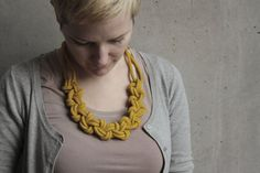 "Knotted rope necklace ""Lene"" in curry yellow. $69.90, via Etsy."
