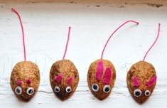 Walnut shell mice... I made these as a kid! But with less pink, of course!