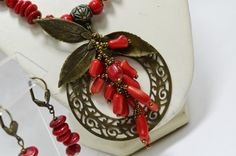 Red and Bronze Jewelry Statement Beaded Genuine Coral Boho