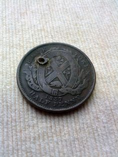 1837 canadian half penny coin jewelry by DrewsCollectibles on Etsy, $10.00