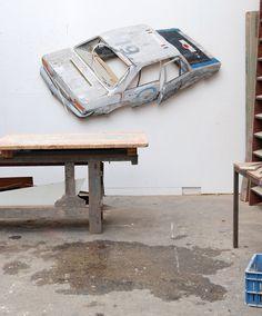 Ron van der Ende________ Voiture Balai, 2010_____bas-relief in salvaged wood_______ 225 x 112 x 10cm (private collection Rotterdam NL)