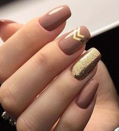 nude nails with gold glitter 2018