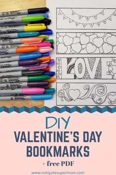 Make these quick & easy Valentine's Day bookmarks for yourself or give them away!  #valentinesday #craftdiy #bookmarks #valentinesgift www.notquitesupermom.com Diy Crafts For Kids, Fun Crafts, Amazing Crafts, Valentines Art, Valentine Gifts, Project Free, Friends Mom, Valentine's Day Diy, Family Kids