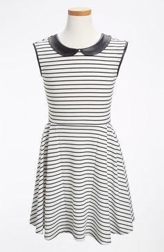 Sweet n' sassy: Peter Pan Collar Dress with a faux leather collar.