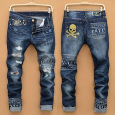 2016 Skull Printed Jeans For Men Streetstyle Patchwork Ripped Designer Stylish Straight Jeans Pants Wholesale 1846 From Jeans1990, $25.89 | Dhgate.Com