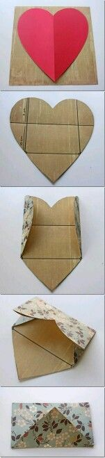 How to: a (heart) Envelope / diy / invitation Envelope Diy, Heart Envelope, Envelope Tutorial, Envelope Pattern, Envelope Design, Fun Crafts, Diy And Crafts, Arts And Crafts, Amazing Crafts