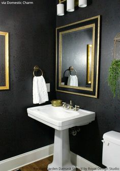 Bold classic bathroom makeover (black tone-on-tone matte and metallic with gold and green) - Persian Garden Damask Wallpaper Wall Stencil by Royal Design Studio - via domesticcharm Powder Room Decor, Powder Room Design, Powder Rooms, Bad Inspiration, Bathroom Inspiration, Black Powder Room, Gold Powder, Green Powder, Damask Wall Stencils