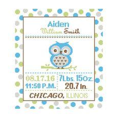 1 Cross Stitch custom Pattern Baby Boy/Girl Personalised Birth Announcement Birth Record Baby Owl Blue Green Gray woodland Nursery polka dot by ZindagiDesigns on Etsy https://www.etsy.com/ca/listing/249751856/1-cross-stitch-custom-pattern-baby