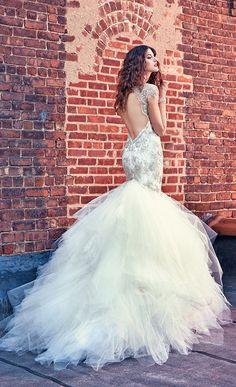 Felicity open diamond  back mermaid wedding dresses from Galia Lahav 2016