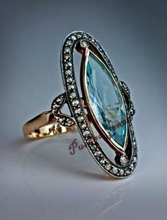 Royal Victorian Estate Style 1.55ct Rose Cut / Pave Diamond Blue Topaz .925 Silver Engagement / Wedding Ring