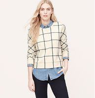 Windowpane Sweatshirt - A perfectly aligned plaid intrigues this soft sweatshirt style. Crew neck. Long sleeves. Banded, cuffs and hem.