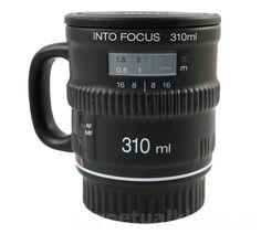 Focus Coffee Mug, otra taza con forma de objetivo de cámara