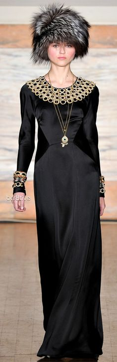 Love the long sleeves, the embroidery at the neck, the accessories...  Temperley London Fall Winter 2012-13 Collection