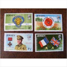 Jersey 1971 Anniversary of Royal British Legion set mint stamps GB SG61-64 poppy