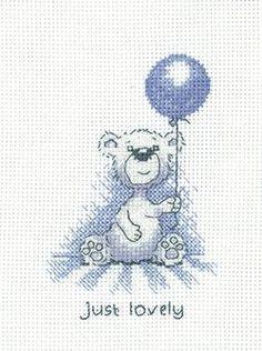 Just Lovely 'Justin' Teddy Bear cross stitch card kit