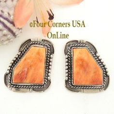 Spiny Oyster Shell Post Earrings Navajo Artisan Bennie Ration Four Corners USA OnLine Native American Indian Silver Jewelry NAER-13005