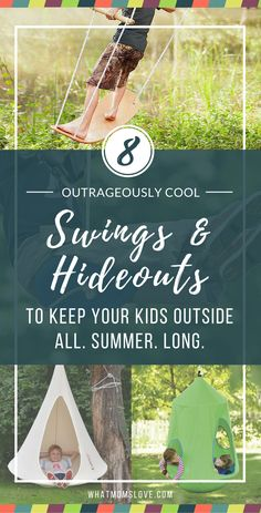 "Set up your backyard with some awesome outdoor swings & hide-outs that your kids will want to play on (or in) all summer. Many of them can attach to your swing set as a new accessory that will breathe new life into it! You'll never hear the ""I'm booorrrred""s again! See them all at whatmomslove.com"