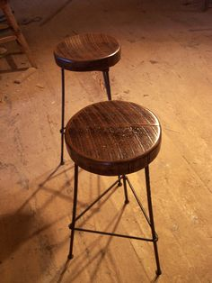 Reclaimed Oak Bar Stools with Metal Legs by BarnWoodFurniture, $105.00 Reclaimed Wood Furniture, Reclaimed Wood Bars, Wood Stool, Repurposed Wood, Furniture Styles, Iron Furniture, Welded Furniture, Furniture Ideas, Industrial Bar Stools