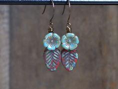 Crimson Leaves Czech Glass Earrings. by GillsHandmadeJewels