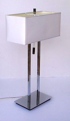 Mid Century Modern Chrome Table Lamp Excellent Condition 1960's