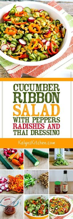cucumber ribbon salad with peppers radishes and thai dressing
