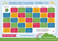 Action For Happiness, Days To Christmas, Christmas Ideas, Holiday Ideas, Christmas Crafts, Media Communication, Kids Calendar, Advent Calendar, Calendar Ideas
