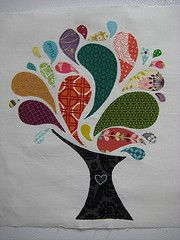 modern tree block-use this on the back of my tree quilt Wool Applique, Applique Patterns, Applique Quilts, Applique Designs, Quilting Designs, Quilt Patterns, Craft Patterns, Family Tree Quilt, Sewing Crafts