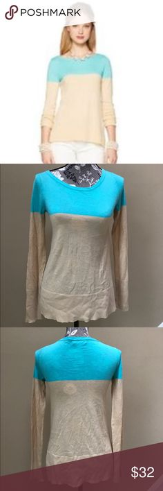 """Lilly Pulitzer 'Debra' sweater Lilly Pulitzer 'Debra' sweater size XS.  Excellent condition.  Teal with light beige color block. Tonal logo at hem. Super soft and looks fabulous on. 40% nylon, 30% viscose and 30% wool. 15"""" from underarm to underarm and 25"""" long. Lilly Pulitzer Sweaters"""