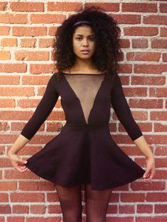 132fe8b5c6 Asia wearing the Ponte Gloria-V Skater Dress.  AmericanApparel V Dress