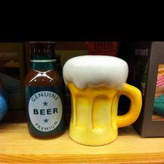 Pier 1 Beer Mug and Bottle Salt & Pepper Set  Sara I'm pinning this just for you!