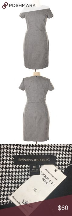 9cef6fc97f4 BANANA REPUBLIC Houndstooth Stretch Sheath Dress Brand New - with tags -  See Photos. Gorgeous