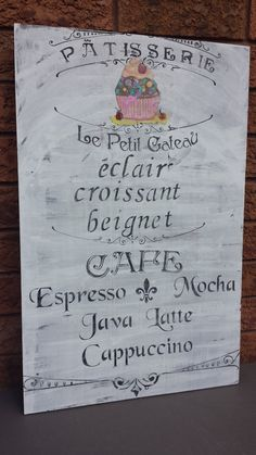Wood sign is stained, chalk painted and has a transferred image of a cupcake. The sign is moderately distressed. Java, Bakery Sign, Bakery Cafe, Mocha, Coffee Shop, Cafe Sign, Barn Wood Signs, Shops, French Cafe