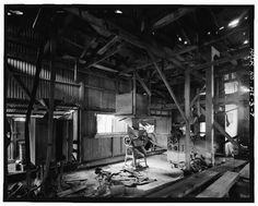 7.  OVERVIEW OF MILL SHOWING (FROM LEFT TO RIGHT) POLISHER AND TWO HULLERS - Haraguchi Rice Mill, Hanalei River, Hanalei, Kauai County, HI
