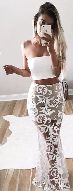 White Mermaid Style Two Piece Strapless Sheer Prom