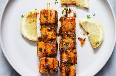 Lemon Garlic Butter Salmon Skewers are easy, healthy, and so fun to make. Cubed salmon is marinated with a tangy sweet honey lemon garlic butter sauce and threaded onto skewers before jumping right…