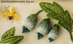 Yellow Fly and Green Buds from Jane Nicholas Mirror 2 stitched by Lorna Loveland