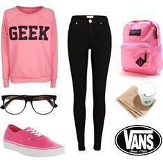 """Pink sweatshirt with geek on it. Black jeans. Medium pink VANS. """"Nerdy"""" black glasses. JANSPORT medium pink backpack. STARBUCKS!"""