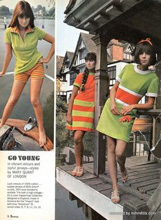 Mary Quant 1967 Penneys Catalog Summer designer print ad photo sports wear day dress miniskirt shorts knit top late 60s mod looks stripes green orang