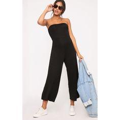 Black Culotte Bandeau Jumpsuit (€13) ❤ liked on Polyvore featuring jumpsuits, black, bandeau jumpsuit and jump suit