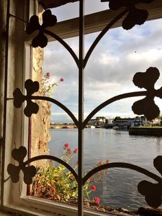 View of the River Corrib from the window of Ard Bia restaurant in Galway, Ireland.