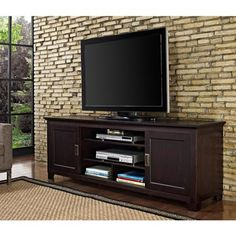 Espresso Wood TV Stand with Sliding Doors for TVs up to 70""