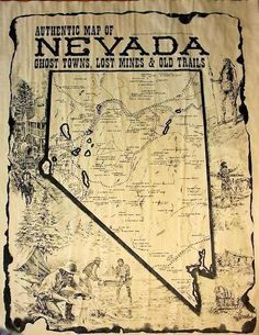 Nevada Ghost Towns, Lost Mines and Old Trails Map Nevada Ghost Towns, Travel Planner, Trip Planner, Western Landscape, Virginia City, Trail Maps, Old Maps, State Map, Vintage Maps