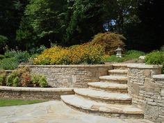 Stacked Stone Retaining Wall in Lilburn Georgia Patio Steps, Retaining Wall Steps, Landscaping Retaining Walls, Hillside Landscaping, Garden Steps, Front Yard Landscaping, Sloped Yard, Sloped Backyard, Backyard Patio