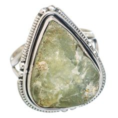Rough Prehnite 925 Sterling Silver Ring Size 7.75 RING767437