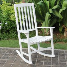 Cambridge Casual Wood Slat Back Outdoor Rocking Chair - CC-130829-WHITE