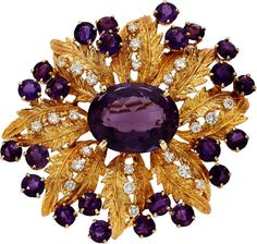 Amethyst, Diamond, Gold Brooch, Karbra The brooch centers an oval-shaped amethyst measuring 21.49 x 17.07 x 12.50 mm and weighing approximately 24.25 carats, enhanced by round-cut amethyst weighing a total of approximately 11.20 carats, complemented by full-cut diamonds weighing a total of approximately 1.45 carats, set in 14k gold, marked Karbra. Gross weight 39.60 grams.