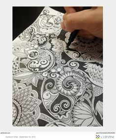 Zentangle inspiration-I like his use of black background to make the design pop and give it depth